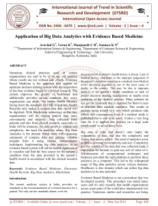 Application of Big Data Analytics with Evidence Based Medicine