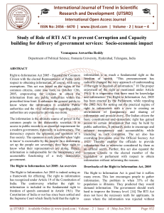 Study of Role of RTI ACT to prevent Corruption and Capacity building for delivery of government services Socio economic impact