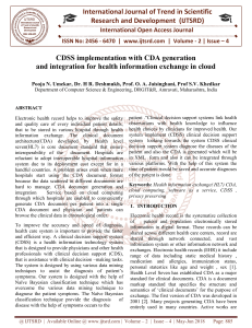 CDSS implementation with CDA generation and integration for health information exchange in cloud