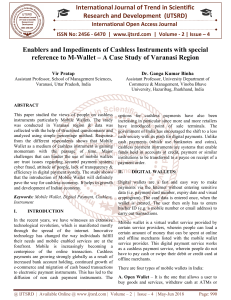 Enablers and Impediments of Cashless Instruments with special reference to M Wallet - A Case Study of Varanasi Region
