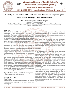 A Study of Generation of Food Waste and Awareness Regarding the Food Waste Amongst Indian Households