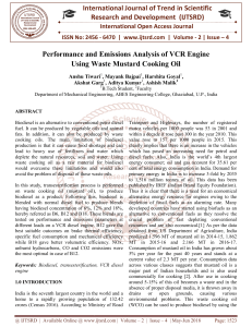 Performance and Emissions Analysis of VCR Engine Using Waste Mustard Cooking Oil