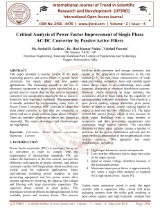 Critical Analysis of Power Factor Improvement of Single Phase AC DC Converter by Passive Active Filters