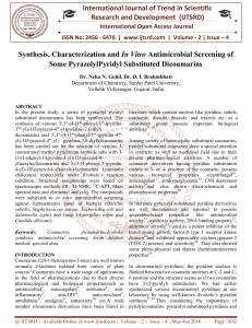 Synthesis, Characterization and In Vitro Antimicrobial Screening of Some PyrazolylPyridyl Substituted Dicoumarins