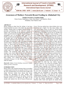 Awareness of Mothers towards breast feeding in Allahabad City
