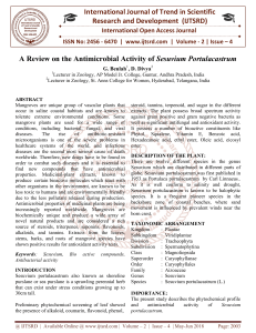 A Review on the Antimicrobial Activity of Sesuvium Portulacastrum