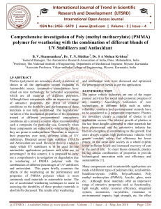 Comprehensive investigation of Poly methyl methacrylate PMMA polymer for weathering with the combination of different blends of UV Stabilizers and Antioxidant