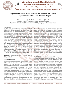 Implementation of MSK Modulation Scheme for Zigbee System IEEE 802.15.4 Physical Layer