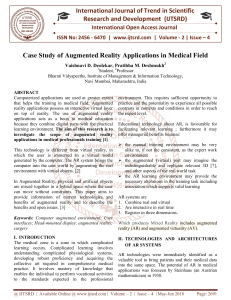 Case Study of Augmented Reality Applications in Medical Field