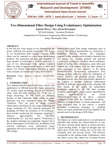 Two Dimensional Filter Design Using Evolutionary Optimization