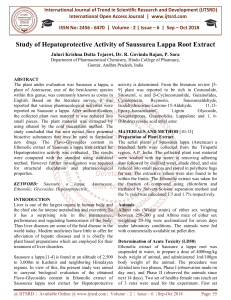 Study of Hepatoprotective Activity of Saussurea Lappa Root Extract