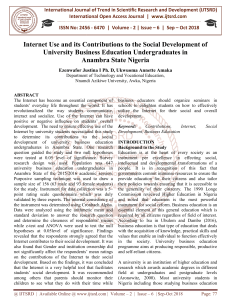 Internet Use and its Contributions to the Social Development of University Business Education Undergraduates in Anambra State Nigeria