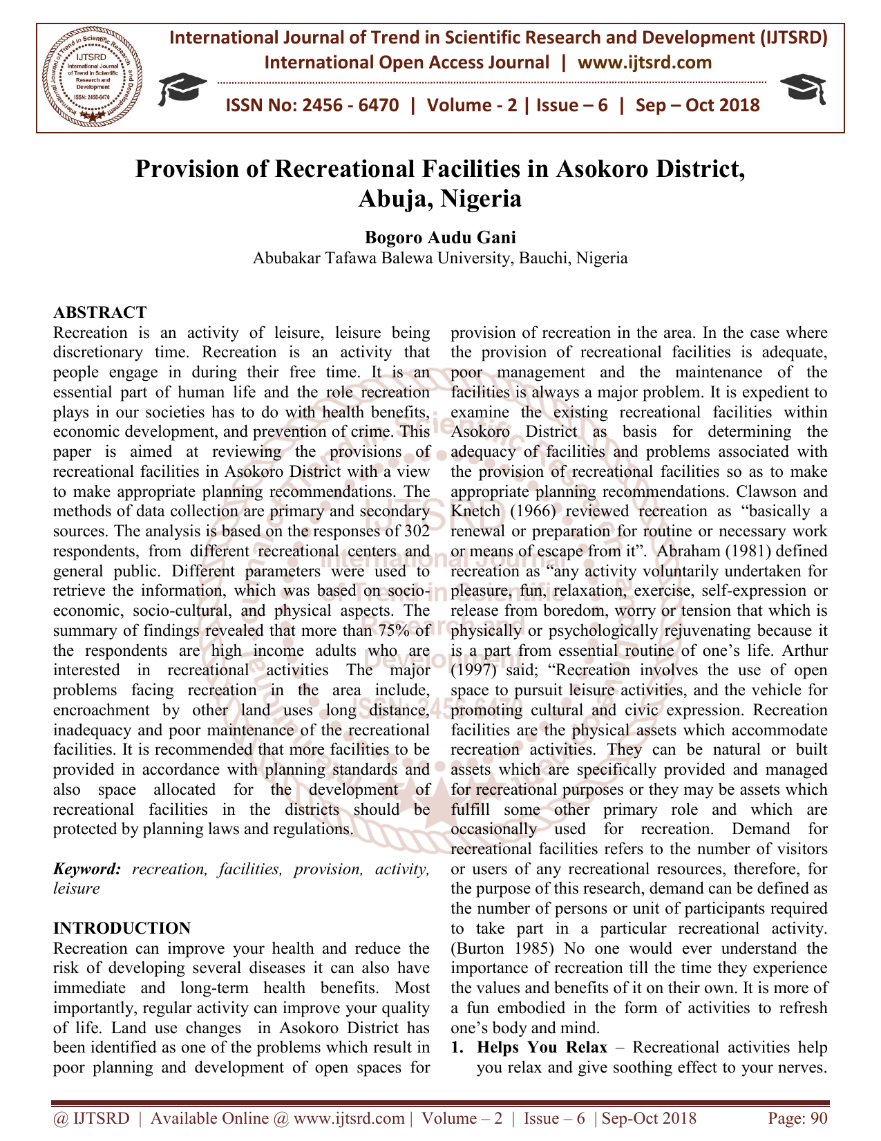Provision Of Recreational Facilities In Asokoro District Abuja Nigeria