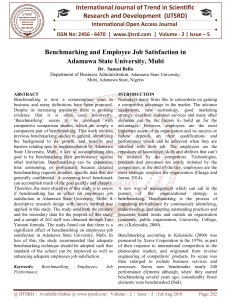 Benchmarking and Employee Job Satisfaction in Adamawa State University, Mubi