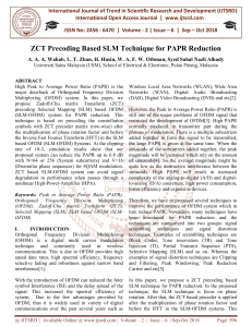 ZCT Precoding Based SLM Technique for PAPR Reduction