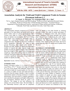 Association Analysis for Yield and Yield Component Traits in Sesame Sesamum indicum L.