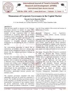 Momentous of Corporate Governance in the Capital Market