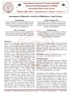 Assessment of Bioactive Activity of Blackberry Seed Extract