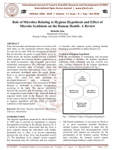 Role of Microbes Relating to Hygiene Hypothesis and Effect of Microbe Symbiosis on the Human Health A Review