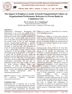 The Impact of Employee Loyalty Towards Organizational Culture on Organizational Performance Reference to Private Banks In Coimbatore City