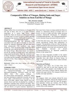 Comparative Effect of Vinegar, Baking Soda and Sugar Solution on Stem End Rot of Mango