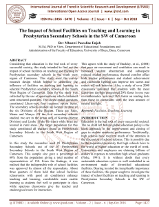 The Impact of School Facilities on Teaching and Learning in Presbyterian Secondary Schools in the SW of Cameroon