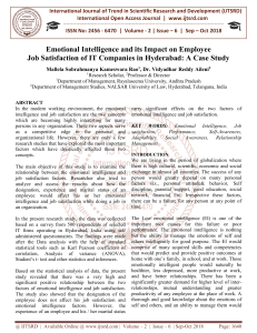 260 Emotional Intelligence and its Impact on Employee Job Satisfaction of IT Companies in Hyderabad A Case Study