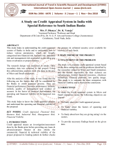 A Study on Credit Appraisal System in India with Special Reference to South Indian Banks