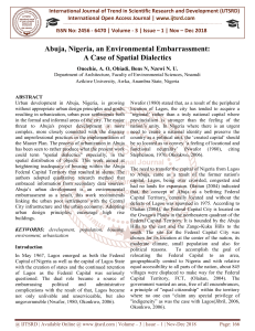 Abuja, Nigeria, an Environmental Embarrassment A Case of Spatial Dialectics