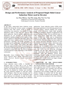 Design and Performance Analysis of Proposed Single Sided Linear Induction Motor used in Elevator