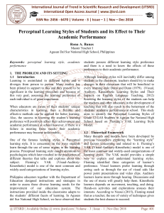 Perceptual Learning Styles of Students and its Effect to Their Academic Performance