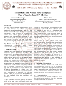 Social Media and Political Party Campaign Case of Lesotho June 2017 Election