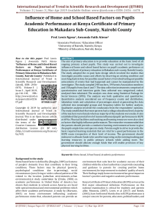 Influence of Home and School Based Factors on Pupils Academic Performance at Kenya Certificate of Primary Education in Makadara Sub County, Nairobi County