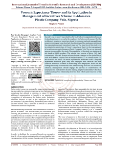 Vroom's Expectancy Theory and its Application in Management of Incentives Scheme in Adamawa Plastic Company, Yola, Nigeria