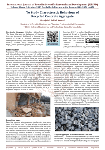 To Study Characterstic Behaviour of Recycled Concrete Aggregate