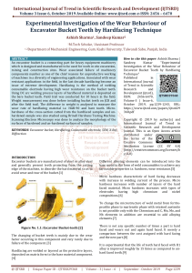 Experimental Investigation of the Wear Behaviour of Excavator Bucket Teeth by Hardfacing Technique