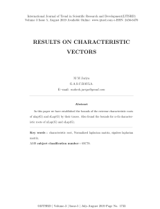 Results on Characteristic Vectors