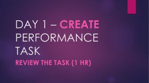 DAY 1  CREATE PERFORMANCE TASK