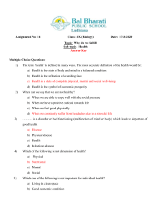 Assignment 16  class 9 Why do we fall ill-  Answer Key - Copy