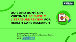 Do's and Don'ts in writing a scientific literature review for health care research- Pubrica