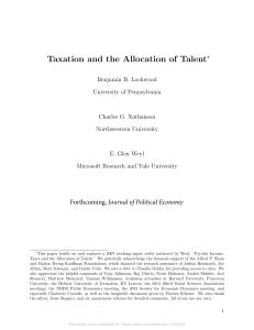 Taxation and the Allocation of Talent