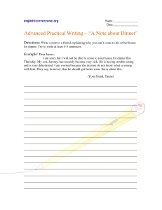 Advanced Practical Writing - Note about Dinner