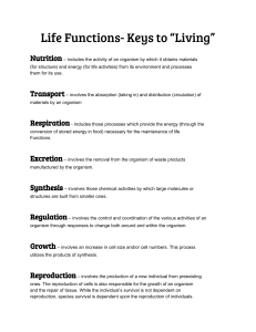 "Life Functions- Keys to ""Living"""