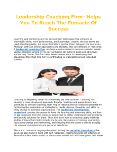 Leadership Coaching Firm- Helps you to Reach the Pinnacle of Success
