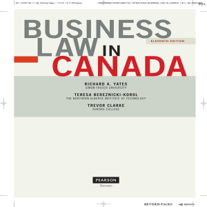 Business Law in Canada 11th Ed. By Yates