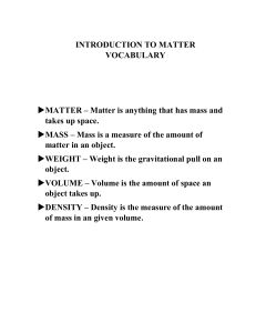 INTRODUCTION TO MATTER VOCABULARY