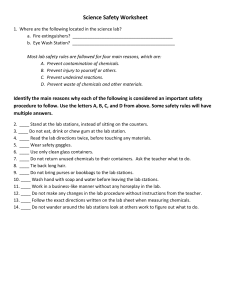 Science Safety Worksheet