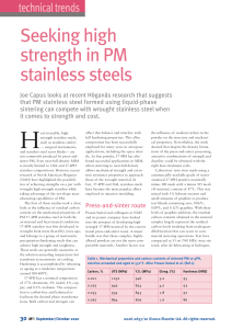 Seeking high strength in PM stainless steels