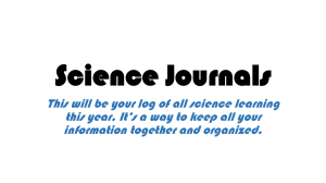 Creating Your Science Journal
