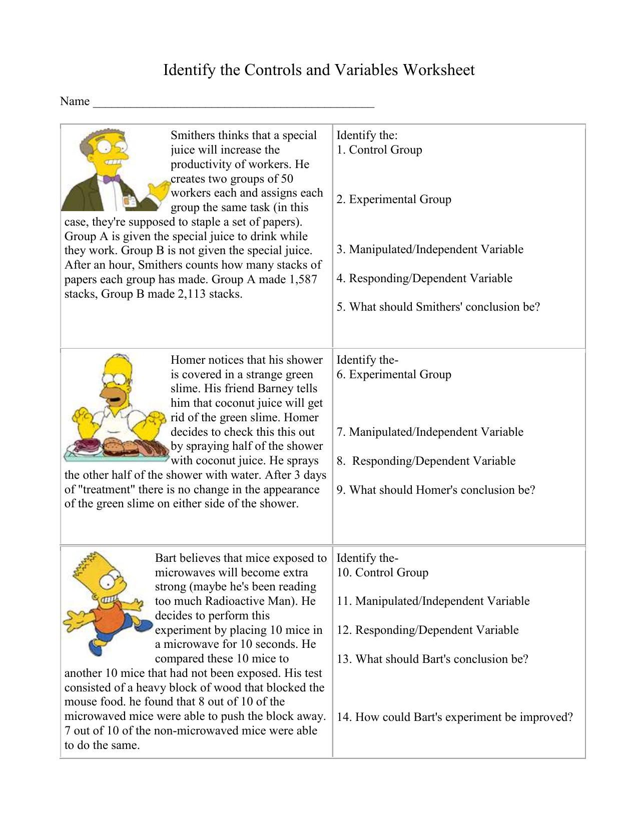 Simpsons Worksheet24 Intended For Identifying Variables Worksheet Answers